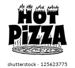 hot pizza banner   retro...