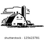 barn and silo   retro clipart... | Shutterstock .eps vector #125623781