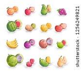 set of fruits vector icon... | Shutterstock .eps vector #1256249821