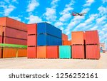 stack of containers box  cargo... | Shutterstock . vector #1256252161