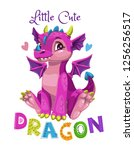 little cute cartoon pink dragon ... | Shutterstock .eps vector #1256256517