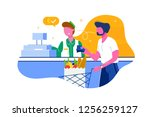 young man with beard buys food  ... | Shutterstock .eps vector #1256259127
