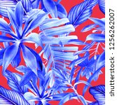 seamless floral pattern with... | Shutterstock . vector #1256262007