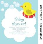 fun baby shower card. vector... | Shutterstock .eps vector #125626205