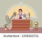 florist lady sells  grows home... | Shutterstock .eps vector #1256262721