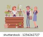 flower shop lady sells ... | Shutterstock .eps vector #1256262727