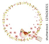 watercolor spring wreath with... | Shutterstock . vector #1256263321