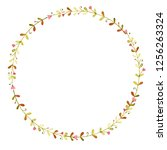 watercolor spring wreath with... | Shutterstock . vector #1256263324