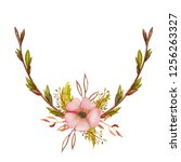 watercolor spring wreath with... | Shutterstock . vector #1256263327