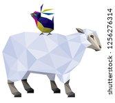 sheep and bird friends | Shutterstock .eps vector #1256276314