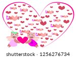 cute animal  holding a heart... | Shutterstock .eps vector #1256276734