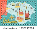 illustrated map of  lithuania.... | Shutterstock .eps vector #1256297524