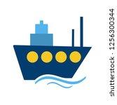 ship flat multi color icon | Shutterstock .eps vector #1256300344