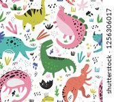 cute dinosaurs hand drawn color ... | Shutterstock .eps vector #1256306017