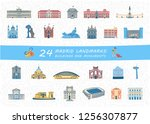 set of madrid city most famous... | Shutterstock .eps vector #1256307877