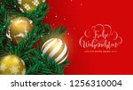 merry christmas happy new year... | Shutterstock .eps vector #1256310004