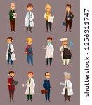 cartoon man jobs or professions ... | Shutterstock .eps vector #1256311747