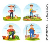 set of isolated farmers with... | Shutterstock .eps vector #1256313697