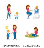 babysitter deals with children. ... | Shutterstock .eps vector #1256319157