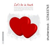 two red 3d hearts. vector. | Shutterstock .eps vector #125633765