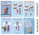 set christmas market cards... | Shutterstock .eps vector #1256343637
