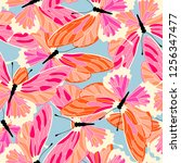 Stock vector seamless pattern with butterflies vector butterfly background 1256347477