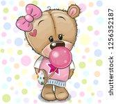 cute cartoon teddy bear girl in ... | Shutterstock .eps vector #1256352187