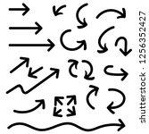 black arrows set. set of hand... | Shutterstock . vector #1256352427