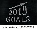 new year 2019 goals with a... | Shutterstock . vector #1256367391