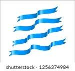 set of blue ribbon on white... | Shutterstock .eps vector #1256374984