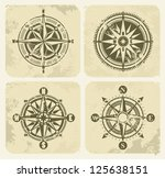 vector color vintage compasses... | Shutterstock .eps vector #125638151