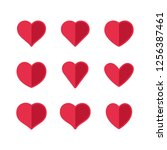 heart icons  sign of love ... | Shutterstock .eps vector #1256387461