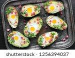 keto diet dish  avocado boats... | Shutterstock . vector #1256394037