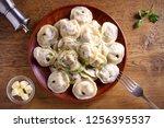 dumplings  filled with meat ... | Shutterstock . vector #1256395537