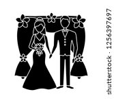 bride and bridegroom glyph icon.... | Shutterstock .eps vector #1256397697