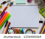 home office workspace mockup... | Shutterstock . vector #1256400364