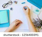 home office workspace mockup... | Shutterstock . vector #1256400391