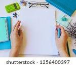 home office workspace mockup... | Shutterstock . vector #1256400397