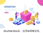 donation and charity concept.... | Shutterstock .eps vector #1256408131