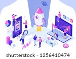 startup concept with rocket... | Shutterstock .eps vector #1256410474