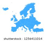 europe simple vector blue map... | Shutterstock .eps vector #1256411014