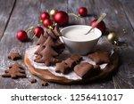 homemade christmas chocolate... | Shutterstock . vector #1256411017