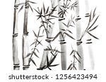 hand drawn bamboo leaves and... | Shutterstock . vector #1256423494