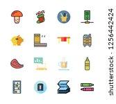 wooden icon set. vector set... | Shutterstock .eps vector #1256442424