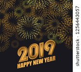 2019 happy new year greeting... | Shutterstock .eps vector #1256443057