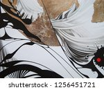 abstract black and white waves  ... | Shutterstock . vector #1256451721