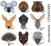 heads and muzzles of wild... | Shutterstock .eps vector #1256452681