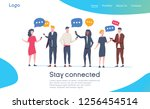 social network landing page... | Shutterstock .eps vector #1256454514