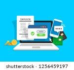 online payment concept. laptop... | Shutterstock .eps vector #1256459197