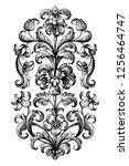 flower vintage scroll baroque... | Shutterstock .eps vector #1256464747